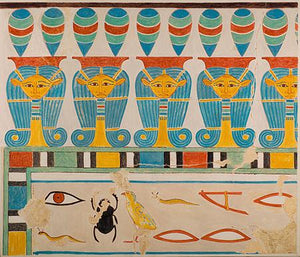 Hathor-Head Frieze in the Tomb of Senenmut. Ancient Egyptian fine art print