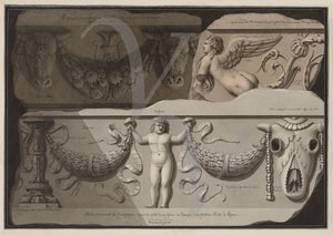 Ancient Roman marble frieze on the Temple of Fortuna Virilis. Fine art print