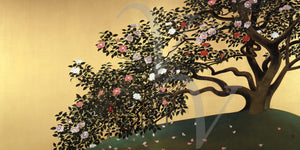 Camellia Petals Scattering by Gyoshu Hayami. Japanese painting. Fine art print
