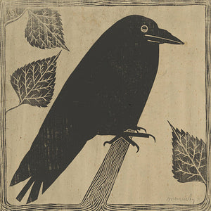 Black Crow Vintage Artwork. Antique Black Bird Wall Art. Fine Art Print