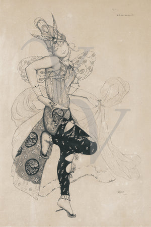 Costume design illustration for Ballets Russe dancer by Leon Bakst. Fine art print