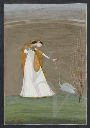 Indian painting of a woman with a peacock. Fine art print