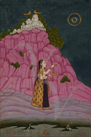 Indian woman. Ragamala Deccan Manuscript illustration. Fine art print