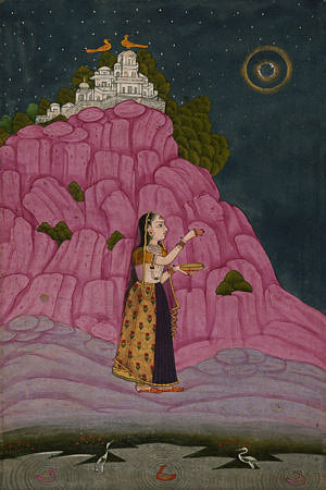 Indian Ragamala painting of a woman performing a night ritual under a full moon. Fine art print