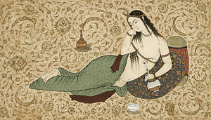 Courtesan. Antique Indian painting. Fine art print