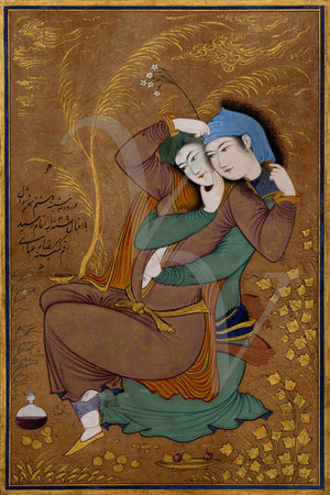The Lovers. Persian painting. Fine art print