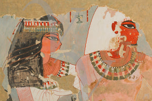 Ancient Egyptian wall painting of Kenamun and His Wife. Fine art print