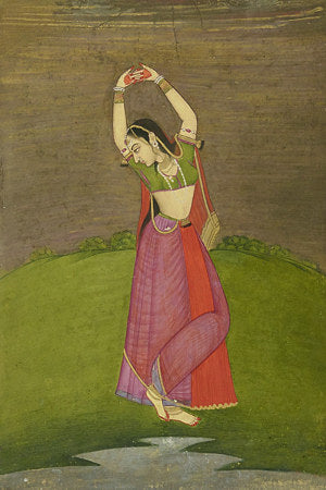 Woman dancing. Antique painting India. Fine Art Print