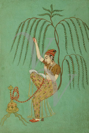 Indian Woman with Hookah. Indo-Persian painting. Fine art print