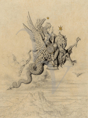 Mythological Persian Peri riding a dragon. Fine art print