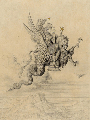 Peri riding a dragon. Antique artwork. Fine art print