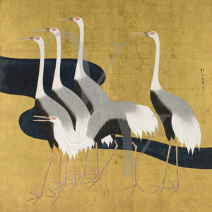 Five Cranes. Japanese Painting. Oriental bird wall art. Fine Art Print