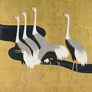 Five Cranes. Japanese Painting. Fine Art Print