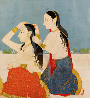 Two Indian women grooming themselves. Antique Painting. Rajasthan. Fine art print