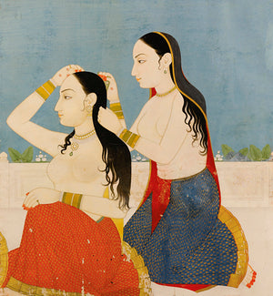 Two Indian women grooming themselves. Antique Painting India. Fine art print
