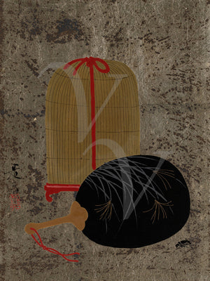 Fan and Insect Cage. Japanese lacquer painting. Fine art print