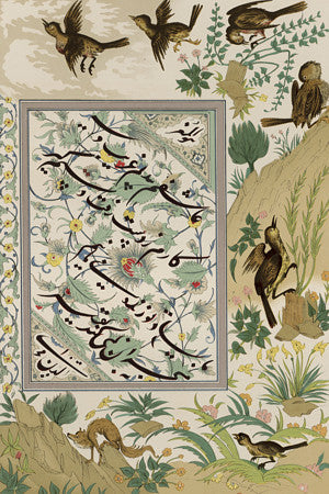 Persian book illustration of birds and nature. Fine art print