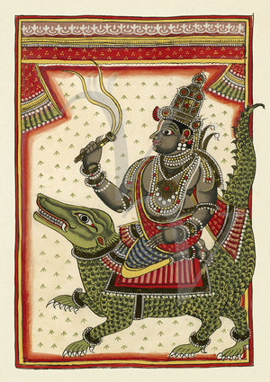 Varuna (the Hindu god of the ocean) sitting on Makara, the crocodile. Antique Indian fine art print