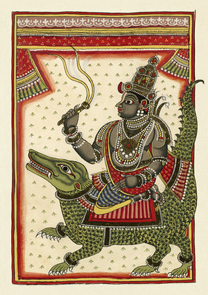 Varuna (the Hindu god of the ocean) sitting on Makara, the crocodile. Fine art print