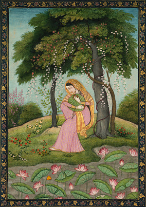 Woman in Love. Indian Pahari painting. Fine art print