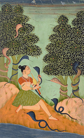 Indian Ragamala painting of woman with snakes. Rajasthan. Fine art print