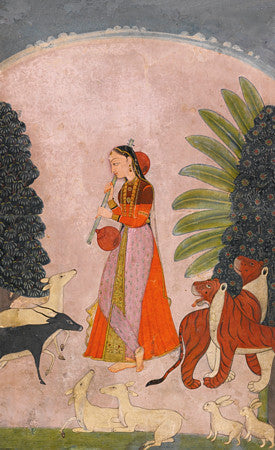 Indian Ragamala painting of a woman with animals. Fine art print