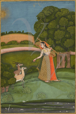 Indian Ragamala painting. Woman in landscape with Forest Animals. Fine Art Print