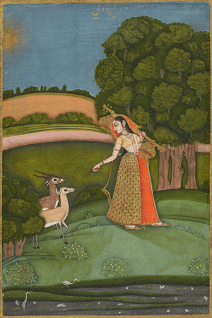 Indian Ragamala painting. Woman with Forest Animals. Bengali. Fine Art Print