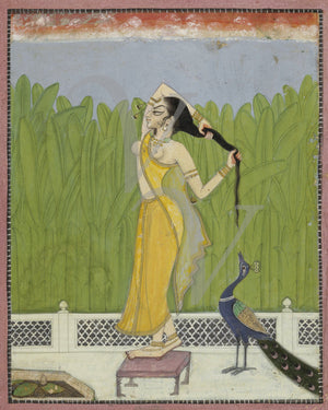 Woman with Peacock. Antique India Painting. Fine Art Print