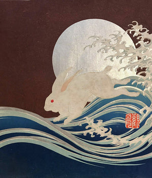 White Rabbit, Full Moon and Wave. Antique Japanese Fine Art Print