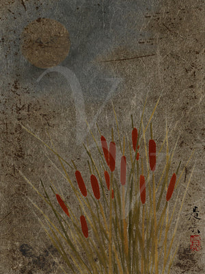 Japanese lacquer painting of cattails under the moon. Fine art print