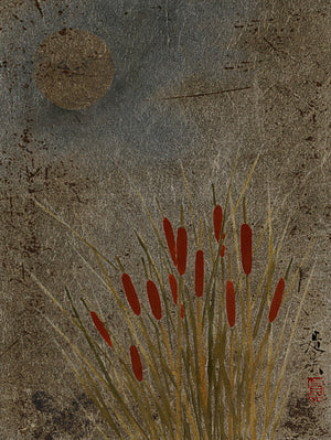 Cattails and the Moon by Shibata Zeshin.  Fine art print