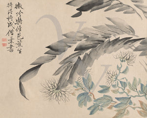 Chrysanthemum Flowers and Leaves. Japanese Painting. Fine Art Print