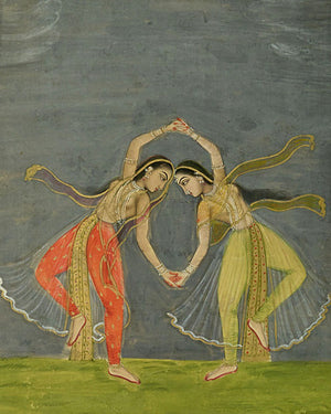 Indian woman dancing. Antique Persian painting. Fine art print