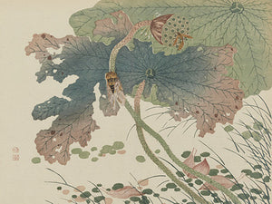 Insects and Leaves. Japanese woodblock fine art print