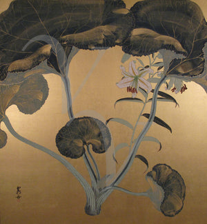 Japanese lotus leaves and lily painting. Fine art print