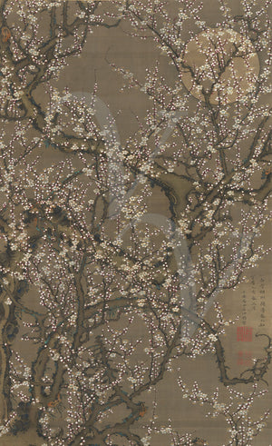 Japanese plum blossoms painting. Flowering tree and full moon. Fine art print