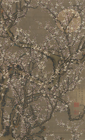 Japanese plum blossoms. Flowering tree and full moon. Fine art print