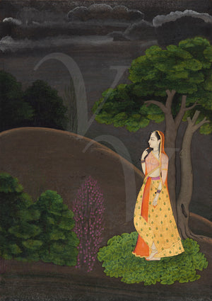 Woman Awaiting Her Lover. Pahari Painting India. Fine Art Print