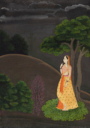 Woman Awaiting Her Lover. Indian Pahari Painting. Fine Art Print
