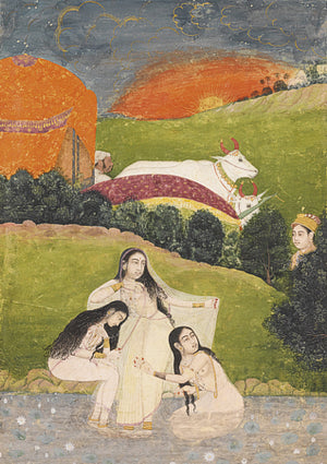 Indian, Mughal painting of women bathing in a river. Fine art print