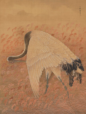 Japanese painting of a Crane in a field. Fine art print