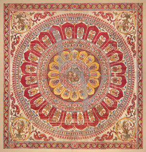 Indian lotus mandala silk hanging. Exotic boho petals. Fine art print