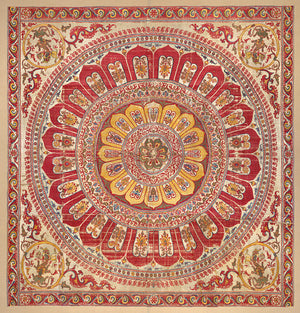 Indian lotus mandala silk hanging. Fine art print