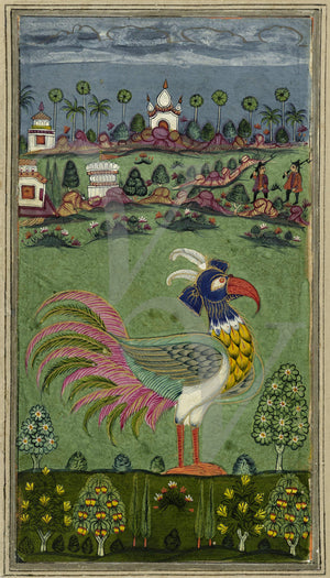 Indian (Deccan) painting of a Mythological bird, Fine Art Print
