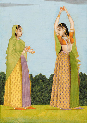 Antique Indian painting of two women. Fine art print