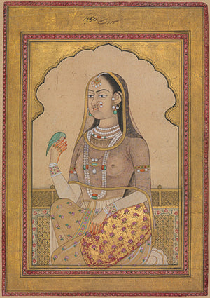 Woman holding a bird. Indian, Deccan,painting. Fine art print