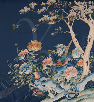 Oriental birds and flowers. Chinese textile artwork. Fine art print