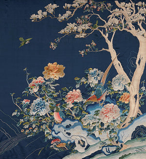 Birds and flowers from an antique embroidered Chinese silk hanging. Fine art print