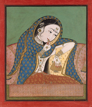 Melancholy Courtesan. Antique Indian painting. Fine art print
